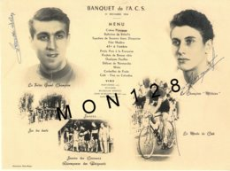 CYCLISME -MENU DU BANQUET 1954 DE L'A.C.S -AUTO CYCLE SOTTEVILLAIS-DEDICACE JACQUES ANQUETIL-CHARLES ROGER- REPRODUCTION - Cyclisme