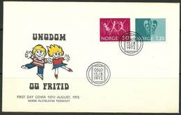 Norway 1972 Mi 645-646 FDC ( FDC ZE3 NRW645-646b ) - Childhood & Youth