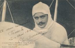 """C. AMANS - Texte Et Signature AUTOGRAPHE Sur CP """" L'Aviateur Sur Biplan Farman """" Pionnier Aviation - Aviateurs"""