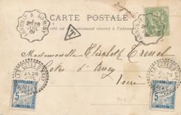 "Taxes 5c Obl T84 "" LES COTES D'AREY ISERE 1901 "" + Convoyeur ANNONAY A FIRMINY "" Obl BLANC 111 CP - Portomarken"