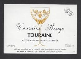 Etiquette De Vin Touraine  375 Ml  - Confrérie Des Vignerons De Oisly  (41)  -  Thème Porteurs Grappe De Raisin - Etiquettes