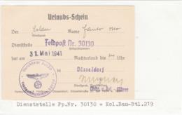 Urlaubs - Schein, FELDPOST Nr. 30130, Düsseldorf - Allemagne