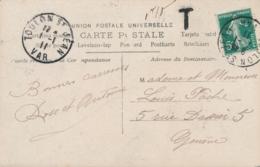 """Semeuse N°137 Obl """" TOULON ST JEAN VAR 1/1/11 """" 1er Janvier 1911 Sur CP Taxée Pour Genève Suisse - Marcophilie (Lettres)"""