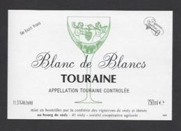 Etiquette De Vin Touraine Blanc De Blancs 750ml -Confrérie Des Vignerons De Oisly  (41) -Thème Porteurs Grappe De Raisin - Etiquettes