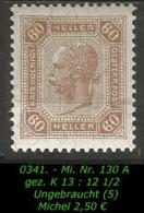 Österreich - Mi. Nr. 131 A - Gez. K 13 : 12 1/2 In Ungebraucht - Ungebraucht