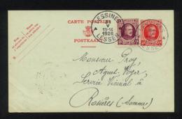 """""""ENTIER CARTE POSTALE COMMERCIALE POUR EXPEDITION DE LESSINES (BELGIQUE) VERS ROSIERES (FRANCE)""""CACHET DU 31/05/1926 - Postcards [1909-34]"""