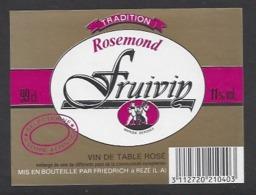 Etiquette De Vin De Table 11% -  Fruivin -  Friedrich à Rézé (44) - Thème Porteurs Grappe De Raisin - Etiquettes