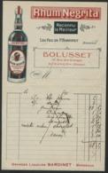 RHUM NEGRITA BARDINET BORDEAUX Facture Avec Adresse BOLUSSET 15 Rue Des Granges Besançon - Invoices
