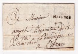 Mayence Département Conquis Mont Tonnerre 1805 Amiot Pommard Côte D'Or Vin De Bourgogne Burgundy Wine - Marcophilie (Lettres)