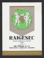 Etiquette De Vin De Table - Raigesec  - De Pinos à Bordeaux  (33) - Thème Porteurs Grappe De Raisin - Etiquettes