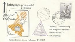 België / Nederland - 1963 - Belgische Post Met Sabena Helicoptervlucht Van Brussel Naar Eindhoven - Luftpost