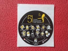 SPAIN PEGATINA ADHESIVO STICKER ESPAGNE SUECA 51 CONCURS CONCURSO INTERNACIONAL DE PAELLA VALENCIANA VALENCIA ARROZ RICE - Pegatinas