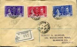 47444 St. Vincent  ,circuled Registered Cover 1937 To Glasgow Coronation Jubilee Of George V - St.Vincent (...-1979)