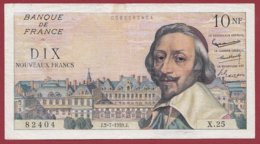 "10 NF ""Richelieu "" Du 02/07/1959.j ---F/TTB+---ALPH. X.25 - 1959-1966 Francos Nuevos"