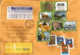 Belle Lettre Recommandée Du Brésil, Adressée Andorra,avec Timbre à Date Arrivée (Belem 400 Ans Série Complète Oblitérée) - Storia Postale