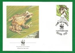 Ozeanien Fiji 1988 Mi.Nr. 589 , Fiji Tree Frog - WWF Official First Day Cover - SUVA . FIJI 3 October 1988 - Fiji (1970-...)