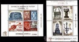 ESPAÑA 1975 - EXPOSICION MUNDIAL DE FILATELIA ESPAÑA-75 - EDIFIL Nº 2252-2253 - YVERT BLOCKS 26-26 - Blocs & Hojas