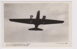"Vintage Rppc KLM K.L.M Royal Dutch Airlines Douglas Dc-2 Named ""Gier"" Aircraft - 1919-1938: Between Wars"