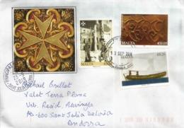 Belle Lettre De L'île De Malte 2019 (Order Of The Maltese Cross), Adressée Andorra,avec Timbre à Date Arrivée - Malte (Ordre De)