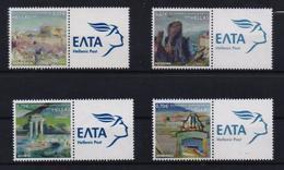 GREECE STAMPS 2009 WITH ELTA LOGO LABEL/GREEK MONUMENTS OF WORLD CULTURAL HERITAGE(4pcs) -20/6/09-MNH-COMPLETE SET(L7) - Nuovi