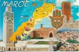 Cartes Géographiques - Le Maroc - Carte Géo Du Maroc - 1 Timbre Philatélique Au Verso - Voir Scan - Cpm - écrite - Mapas
