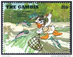 404 Gambia Disney Donald Fishing Salmon Peche Saumon MNH ** Neuf SC (GAM-20) - Fische