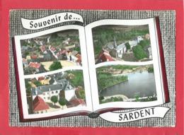 CPM  Grand Format - Souvenir De Sardent -(Creuse)-La Place - L'église - Les écoles - Masmengeas Plage -(livre, Livres ) - France