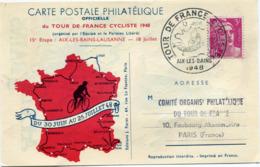 FRANCE CARTE POSTALE DU TOUR DE FRANCE 48 15e ETAPE AVEC VIGNETTE AIX-LES-BAINS + OBL. ILLUSTREE TOUR DE...18 JUIL. 1948 - Ciclismo