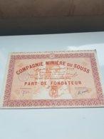 COMPAGNIE MINIERE DU SOUSS  (fondateur) MEKNES , MAROC - Actions & Titres