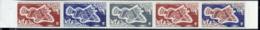 F.S.A.T. (1971) Zanchlorhyncus Spinieer. Scott No 44, Yvert No 45. Trial Color Plate Proofs In Strips Of 5 With Multicol - Non Dentellati, Prove E Varietà