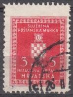 Hrvatska 1942 Michel Service 6A O Cote (2006) 0.20 Euro Armoirie Cachet Rond - Croatie