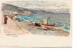 06 MENTON  LITHO  Dessin Wieland T 1899 - Menton