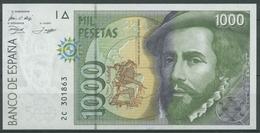 Spanien 1000 Pesetas 1992, Cortes, KM 163, Kassenfrisch (K83) - [ 4] 1975-… : Juan Carlos I