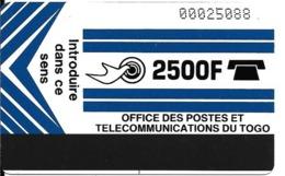 CARTE-TOGO-MAGNETIQUE-GENERIQUE-2500F-BLEU- TBE-RARE - Togo