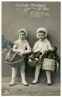 A JOLLY CHRISTMAS TO YOU : PRETTY CHILDREN WITH TOY ANIMALS, BASKETS OF PRESENTS (HAND COLOURED) - Natale