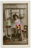 BIRTHDAY WISHES : PRETTY GIRL WITH DOLLS, FLOWERS AND TOYS (EMBOSSED) - Compleanni