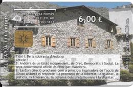 CARTE-PUCE-ANDORRE-50U-AND 136-G&D-06/03-10é ANNIVERSAIRE De La Constitution-Utilisé-TBE - Andorra