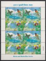 Nepal - 1996 - N° Yv. 596 à 599 - Faune / Birds / Butterflies - Sheetlet - Neuf Luxe ** / MNH / Postfrisch - Nepal
