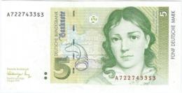 Alemania Federal - Germany 5 Mark 1-8-1991 Pk 37 Firmas Schlesinger Y Tietmeyer Ref 3963-2 - 5 Deutsche Mark