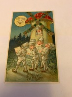 """Carte Postale Gaufrée Lutin Nain Gnome Champignon  """" Bonne Et Heureuse Année """" - New Year"""