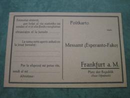 Modèle De Correspondance à Destination De FRANKFURT - Esperanto