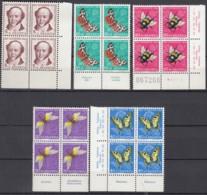SCHWEIZ  MiNr. 602-606, 4erBlock Z.T. Mit Eckrand Und Insektennamen, Postfrisch **, Pro Juventute 1954, Insekten - Nuovi