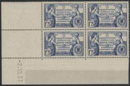 1937 / N° 357 CONSTITUTION DES ETATS UNIS X4 Bloc De Quatre Avec Coin Daté Du 2/10/37. Cote 18€. - Dated Corners