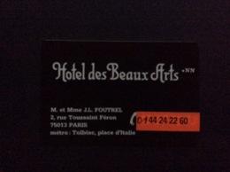 CARTE DE VISITE HÔTEL DES  BEAUX  ARTS  Paris - Cartes De Visite
