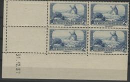 1937 / N° 311 LE MOULIN DE BAUDET X4 Bloc De Quatre Avec Coin Daté Du 31/12/37. Cote 24 €. TB - 1930-1939