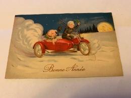 """Carte Postale Cochon Moto Side Car """" Bonne Année"""" - Neujahr"""