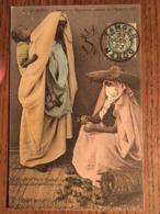 CPA, Le Maroc, TANGER, MAURESQUES Vendant Des Figues, éd LL, écrite En 1907, Timbre - Tanger