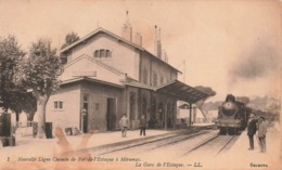 13 La Gare Avec Train De L' Estaque Nouvelle Ligne De Chemin De Fer De L' Estaque à Miramas Locomotive à Vapeur - Autres Communes