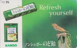 TC Japon / 110-016 - ANIMAL - Oiseau Passereau - ALOUETTE & Pub Bonbon Sans Sucre - LARK BIRD Japan Phonecard - 4428 - Zangvogels