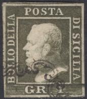 Sicilia, 1 Gr. III Tav. Verde Oliva Scuro NA N.5b AD+G.Bolaffi Cv 550 - Sicilia